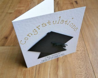 Congratulations On your graduation. Individually handmade graduation greetings card