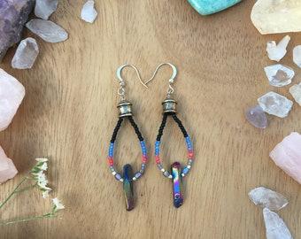 Boho Seed Bead Earrings, Quartz Stone Earrings, Seed Bead Earrings