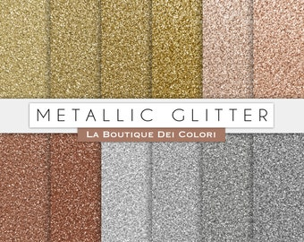 Metallic Glitter digital paper. gold, silver and bronze glitter digital papers: scrapbooking, printables, cards, Commercial Use