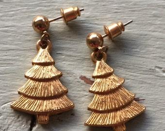 Christmas Tree Earrings, Christmas Earrings, Gold Earrings