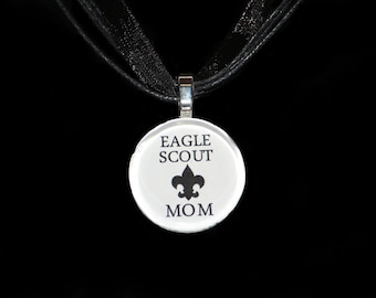 Eagle Scout Mom Necklace by Maggie Taggie glass tile tags