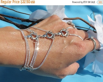 Sale Silver Slave Bracelet,bridal hand chain wedding Heart Hand bracelet slave bracelet Ring Bracelet Slave Ring Finger Bracelet Bridesmaid