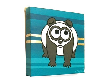 Panda Bear on Green Stripes acrylic painting - cute animal art on a square canvas, original nursery artwork of cartoon black and white bear
