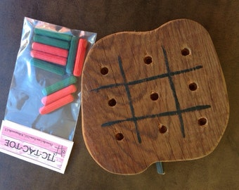 Primitive Handcrafted Toy Apple Tic Tac Toe by Down the Lane Farm Reclaimed Barnwood Game Travel Size