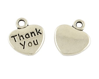 Thank You Charms Jewelry Tags Metal Jewelry Tags Word Charms Metal Heart Tags Bulk Charms Wholesale Charms-100pcs