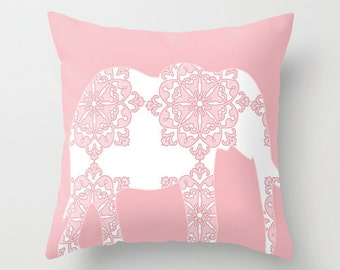 """Damask Elephant Throw Pillow  18"""" x 18"""" in pink and blue  - pillows, nursery pillows ,elephant, pink elephant"""