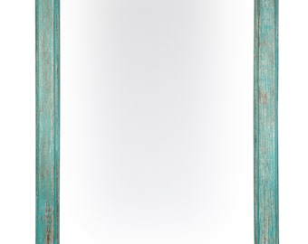 Mossy Creek Mirror-Wood-Mexican-24x36-Rustic-Western-Cowboy-Clavos--Distressed Turquoise -Primitive