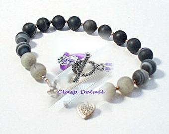 Banded Agate Bracelet Set - Simple Jewelry - Bracelet & Earrings - Chakra Bracelet -B808-1B