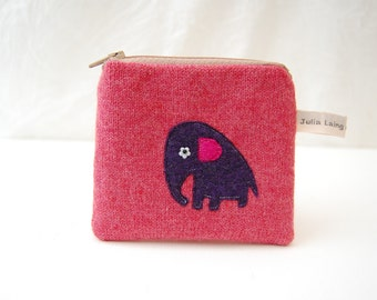 Baby Elephant Coin Purse - Pink Wool Applique Design