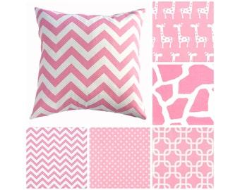 Pink Pillows.Pink Decorative Pillow Covers.Throw Pillows.Baby Girl Nursery.Animals Nursery Decor.Polka Dot Pillows.Toss Pillows