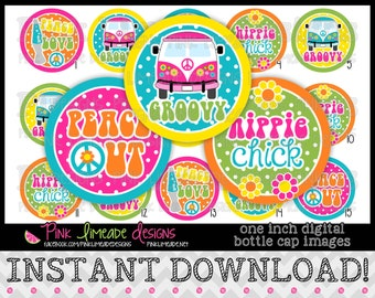 "Hippie Chick - INSTANT DOWNLOAD 1"" Bottle Cap Images 4x6 - 803"
