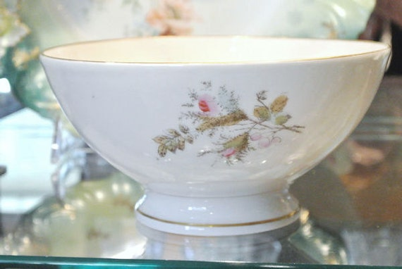 1860s Antique Ironstone Waste Bowl / Moss Rose