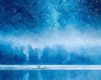 Night River Original Watercolor Brush Illustration Painting