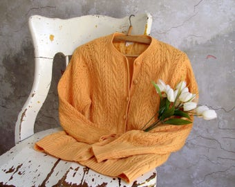 Button Front Lined Cardigan , Eaton's Spring Summer Sweater , Light Weight Wool Cardigan , Cable Knit Sweater , Women Size Small