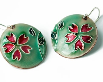 enamelled earrings with cherry blossoms