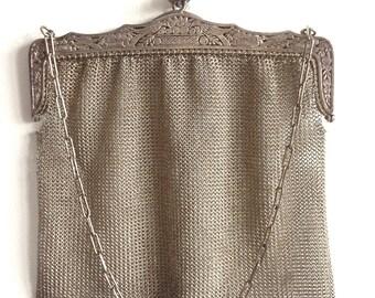 Antique Silver Metal Mesh Chatelaine Purse Alpacca Chain Bird Engraved German Hand Bag