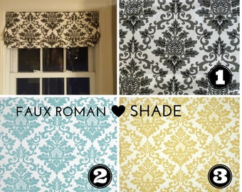 Faux False Roman Shade - Fake Roman Shade -  Top Treatment - Stationary Valance - Mock Roman, Nursery Shade - Choose Size - Easy to Install