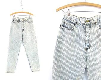 80s High Waist Jeans Pinstripe Denim Jeans Zipper Cuff Skinny Jeans Tapered Leg Acid Wash Jeans Womens Size 9 28 Inch Waist