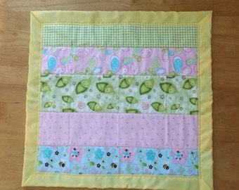 Garden Bugs and Butterflies with Minky Toddler Quilt with Blanket Binding, Security Blanket - Lovey - Carseat, Stroller, Travel Soother