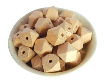 15mm Beech Wooden Bead | Hexagon | Geometric | Natural Wood | Eco-Friendly | Unfinished | Non-Toxic