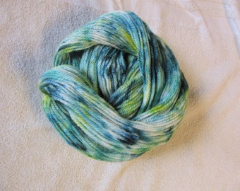"100% Alpaca -Speckle Dyed by Hand ""Tropical Rainforest""  - 3 Ply Worsted Weight Yarn - 200 Yds - 9-11 WPI"