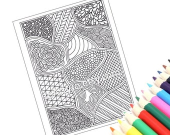 Coloring Page Zentangle Inspired Printable Instant Download, Page 54