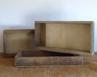 rustic wood box, tray, wedding tabletop, reclaimed wood organizer, altered art supply