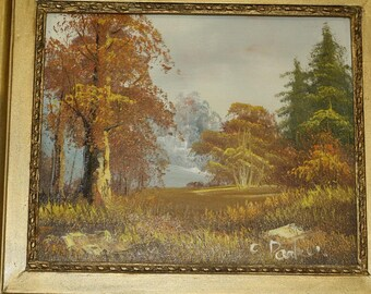 vintage oil painting on canvas, nature, landscape, signed by the artist