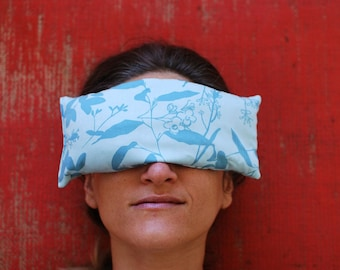 Eye Pillows - Eco Home Spa - Floral - Organic Cotton Lavender Flax - Eco Friendly - Pamper