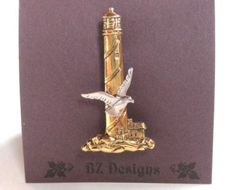 Lighthouse Brooch with Seagull - Antique Gold with Antique Silver Seagull - BZ Designs