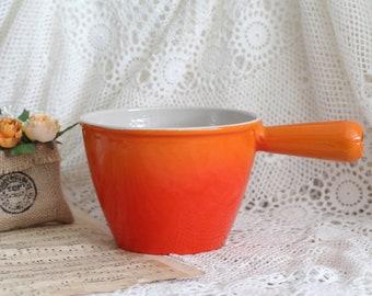 Vintage French Le Creuset Cast Iron Fondue Pan - Orange