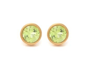 Peridot Stud Earrings - Gemstone POP Stud Earrings - Peridot in Yellow Gold - 18k Gold Vermeil - Studs