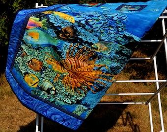 Tropical fish quilt lap size