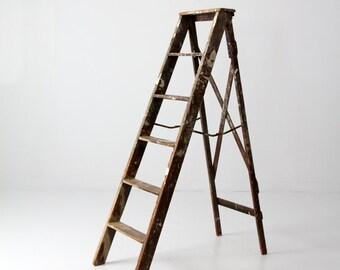 vintage painter's ladder, 5.5 ft ladder, wooden folding ladder