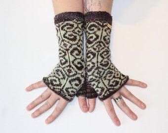 Fiddlesticks Mitts ~ Knit Fingerless gloves, Fingerless glove mittens, Long knit gloves, Boho knit glove mittens, Women's Fingerless Mitts