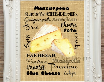 Cheese print kitchen SUBWAY art, 8x10 printable, watercolor kitchen art,burlap tan white kitchen art decor,cottage chic,shabby chic,charming