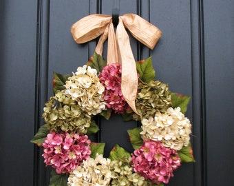 Summer Hydrangea Wreath, Hydrangea Wreaths, Summer Front Door Wreaths, Door Wreaths for Summer, Front Porch Wreaths