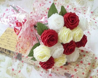 12 Single Stem Roses Gift Wrapped Origami Romantic Rose Bouquet for Anniversay, Valentines day gift, Special Occasions