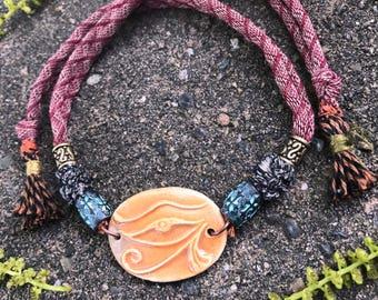 clay NECKLACE,clay pendant,ceramic necklace, yoga necklace,zen  choker necklace,hippy necklace, festival necklace, Eye of Ra necklace  Zasra