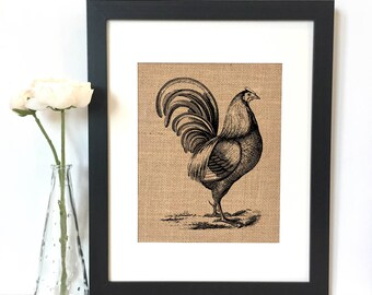 Rooster Burlap Print // Rustic Home Decor // Kitchen Decor