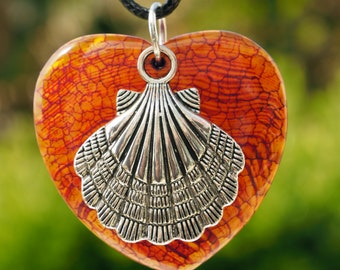 Orange Agate Heart Necklace, Dragon veins with St. James in Tibetan silver