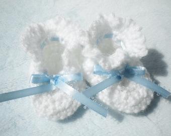 Crocheted Baby Booties Newborn Boy Blue Ribbon