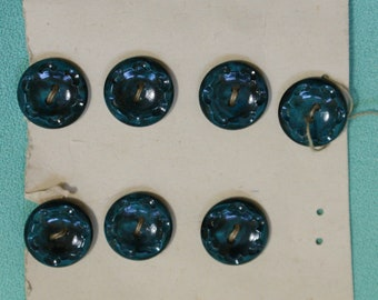 Vintage Set of 14 midnight Blue Plastic Buttons 1.5cm on original card #210