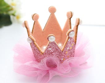 hair Crown Princess Pink Rhinestone glitter tulle and pearls