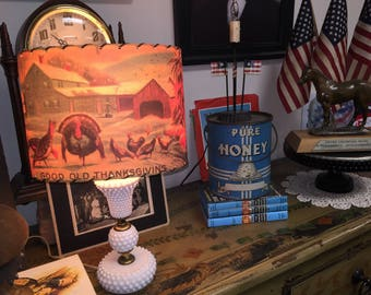Thanksgiving Lamp Shade From Vintage Images Home Cottage Farm Turkeys Cabin USA