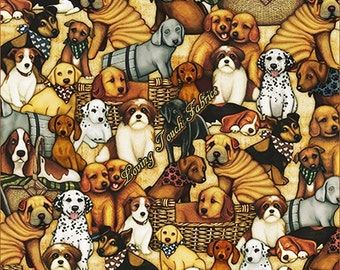 It's A Ruff Life Quilting Treasures #1649-24242-A Cotton Fabric Priced Per 1/2 Yd.