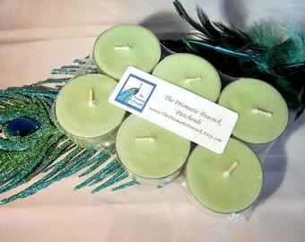 Patchouli parfumé au soja thé allumer des bougies 6pk vert