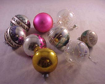 9 Vintage Glass Christmas Tree Ornaments