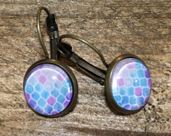 -Sleeper - finished bronze earrings - glass cabochon