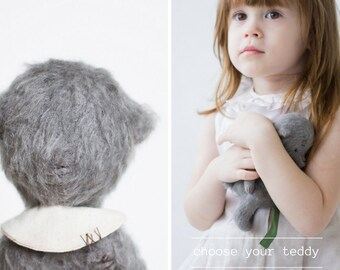 Made To Order Mohair Teddy Bear 7 Inches Stuffed Animal Embroidered Collar Plush Toy Handmade Toy Soft Toys Personalized Gift For Her